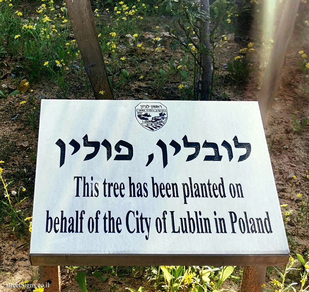 Rishon Lezion - trees planted for Sister cities - Lublin, Poland