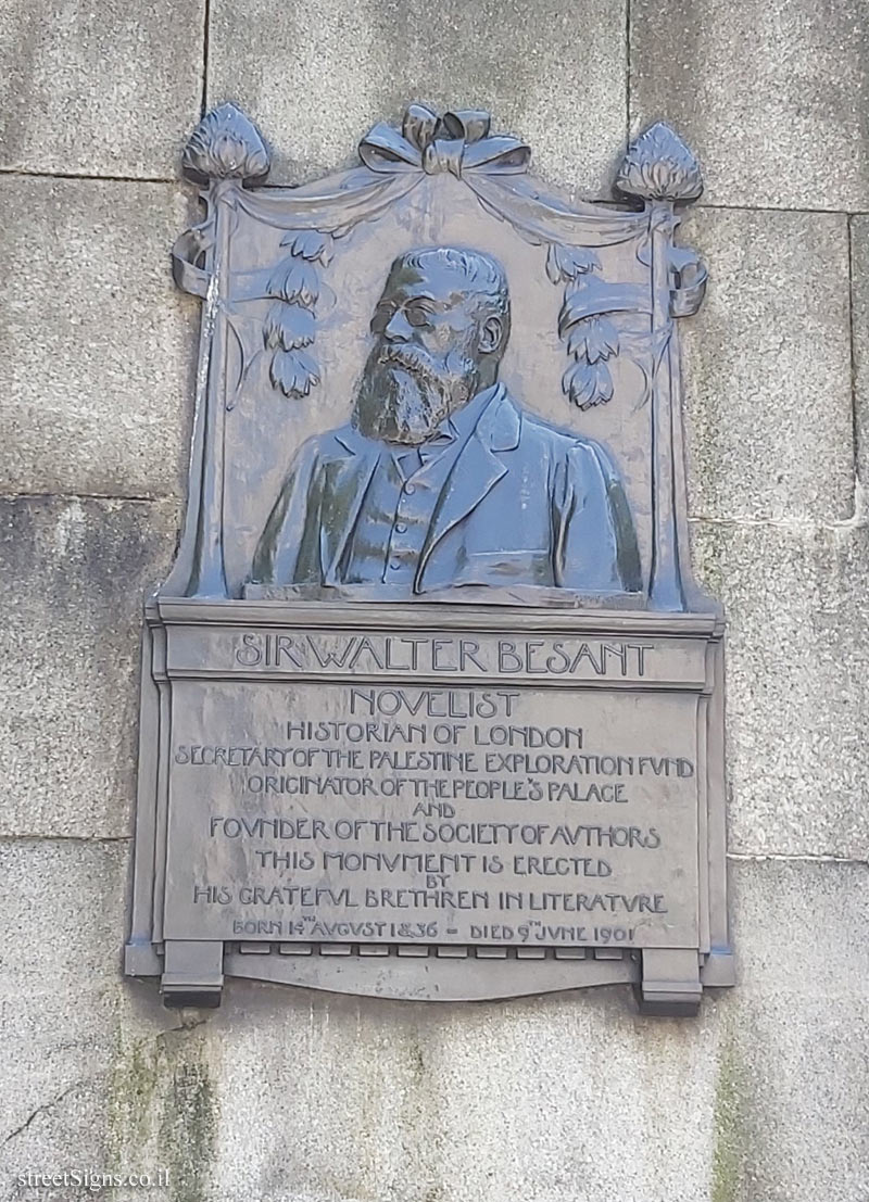 LONDON - A memorial plaque to Sir Walter Besant