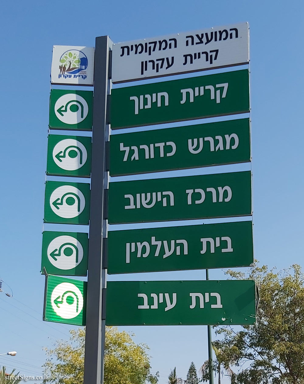 Kiryat Ekron - A direction sign pointing to places in the locality