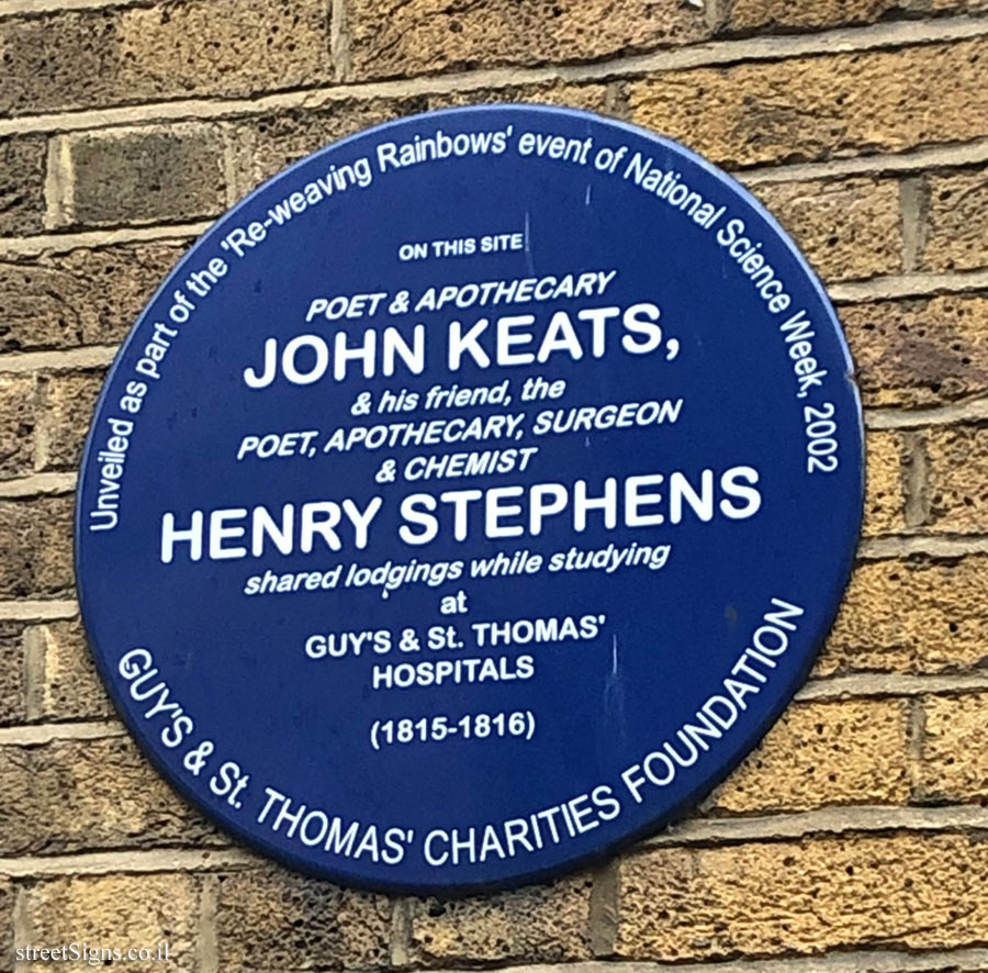 LONDON - A memorial plaque where John Keats and Henry Stephens lived