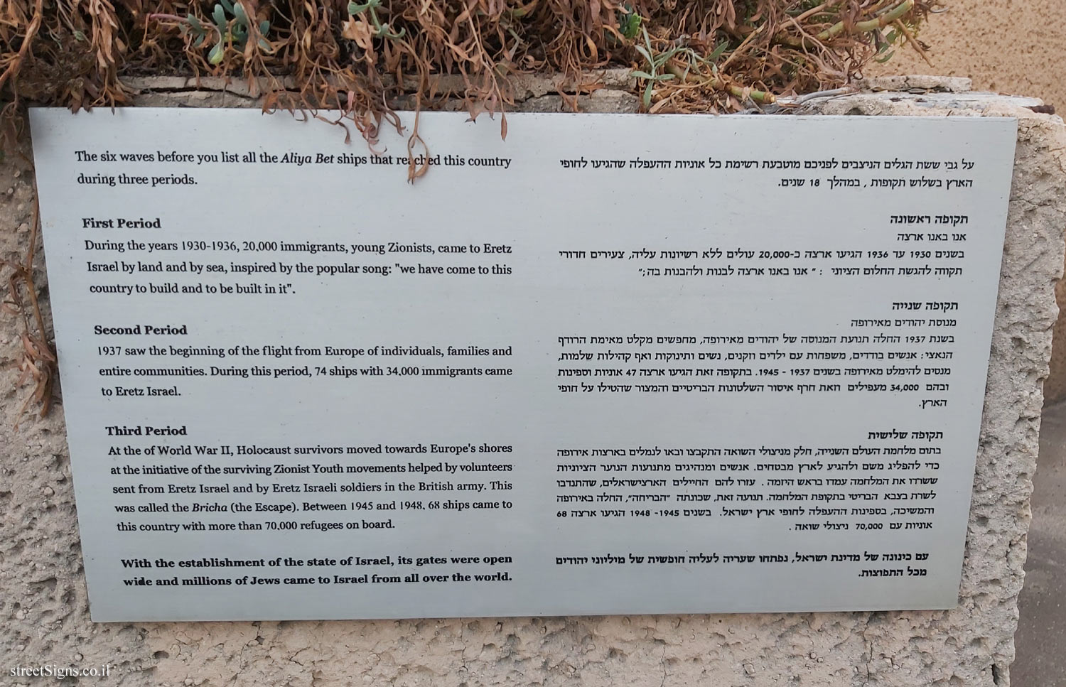 Tel Aviv - London Garden - The story of the illegal immigration - The periods of immigration