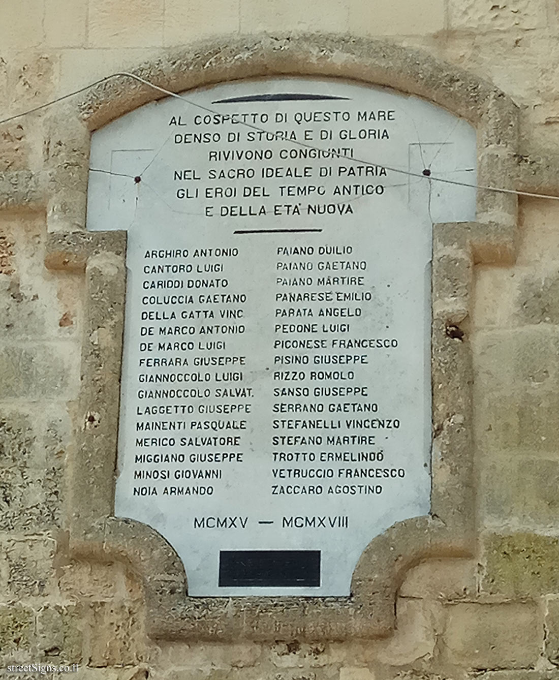 Otranto  - a memorial plaque to the citizens of the city who fell in the First World War