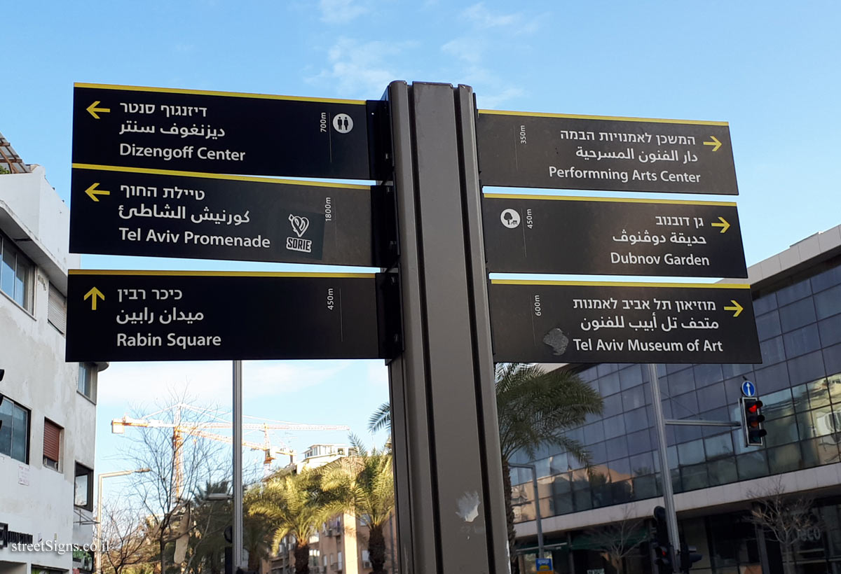 Tel Aviv - Direction sign in the city center