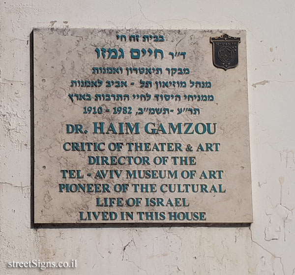 Dr. Haim Gamzou - Plaques of artists who lived in Tel Aviv