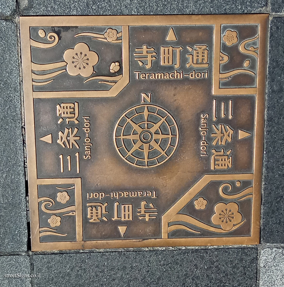 Kyoto - a direction sign pointing to city streets
