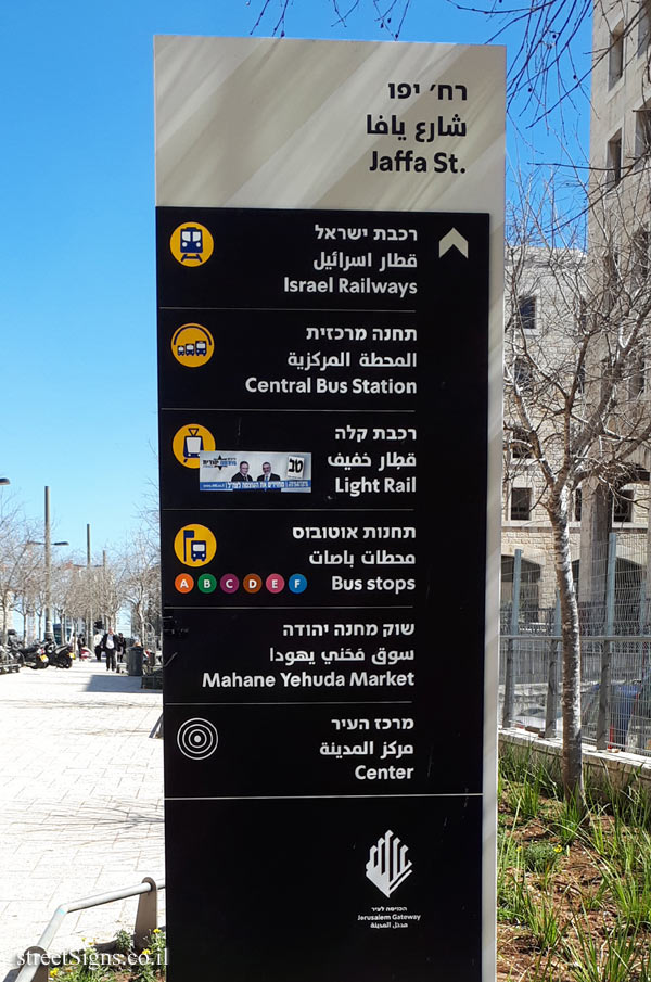 Jerusalem - A direction sign pointing to the city's sites - Jaffa Road