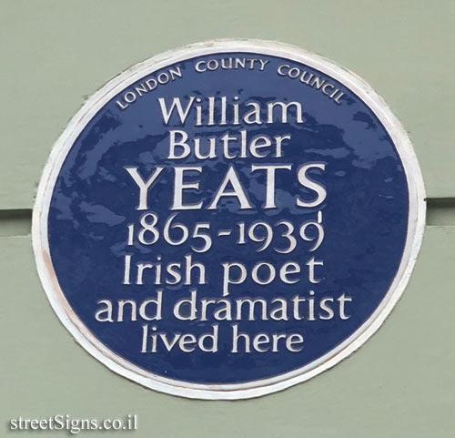 London - Memorial plaque at the residence of William Butler Yeats
