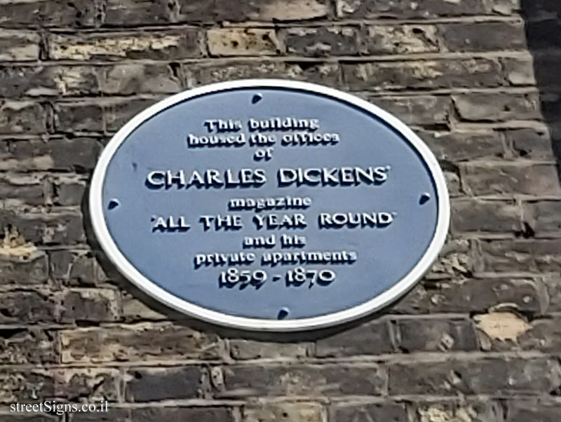 London - A memorial plaque on the home of Charles Dickens and the magazine office he edited
