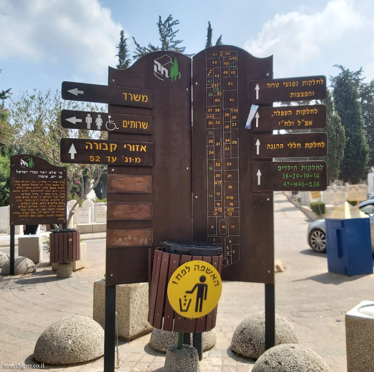 Nahalat Yitzhak Cemetery - direction sign and map