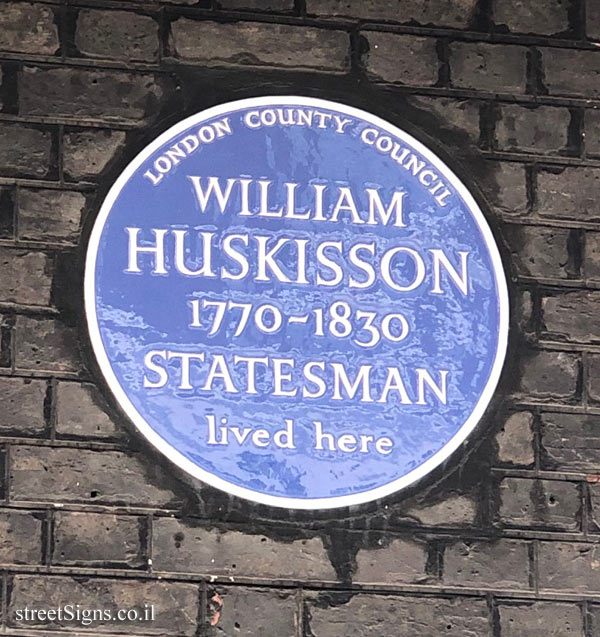 London - A memorial plaque on William Huskisson